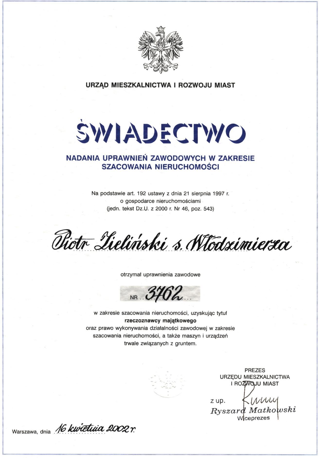 uprawnienia rzeczoznawcy Piotr Zieliński