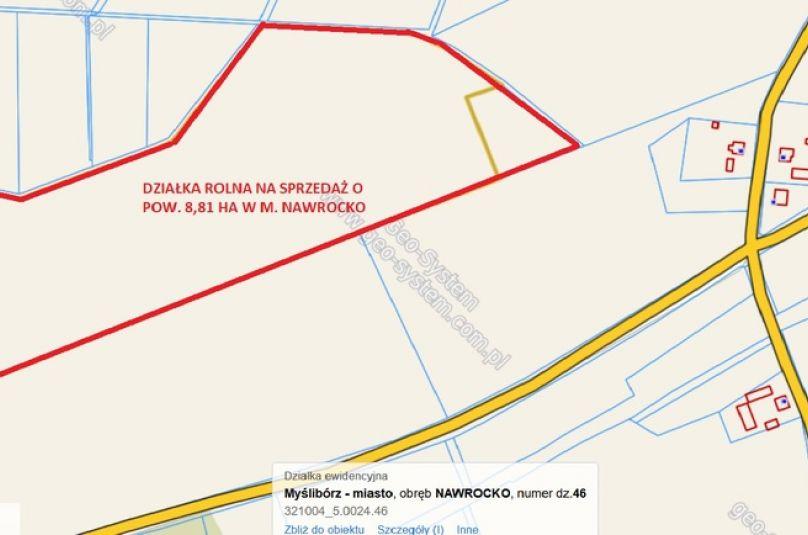 Działka sprzedaż Myślibórz, Nawrocko, 88100 m<sup>2</sup>